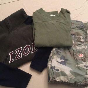 3 Piece Lot Boys 5, 6 Camo pants, Top, Sweatshirt